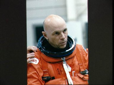 Astronaut Story Musgrave in launch/landing suit during STS-33 training