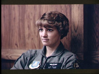 Astronaut candidate Eileen Collins during parachute ejection briefing