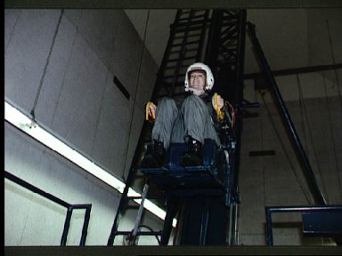 Astronaut candidate Eileen Collins during survival training