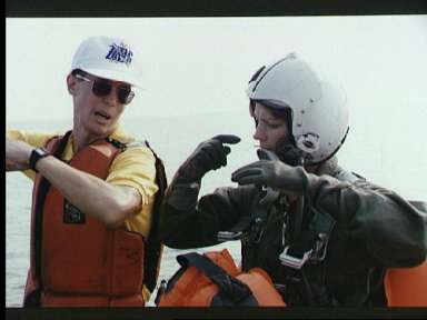 Astronaut candidate Eileen Collins during water survival training