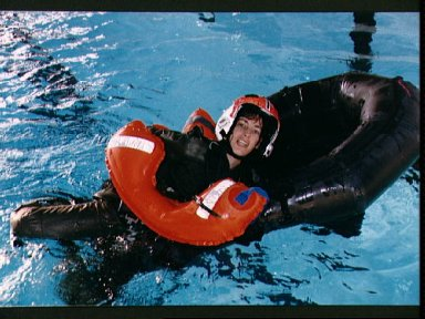 ASCAN Ochoa floats in pool during Elgin AFB water survival training