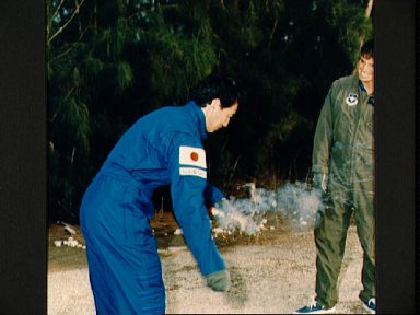 STS-47 Payload Specialist Mohri during Homestead water survival training
