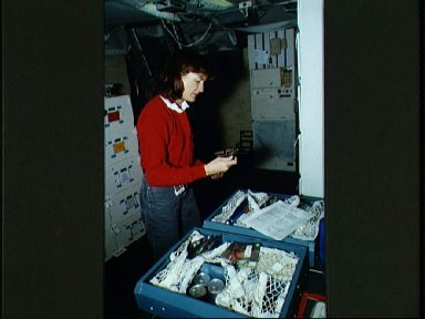 STS-37 Mission Specialist (MS) Godwin during simulation in JSC's FB-SMS
