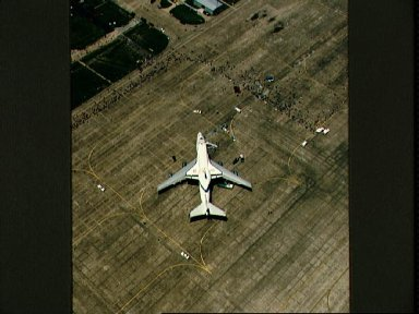 Aerial view of Endeavour, OV-105, parked on Ellington Field runway