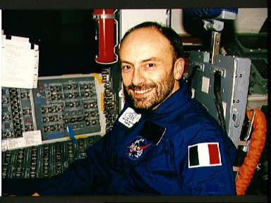 STS-46 Payload Specialist Malerba sits at the pilots station in JSC mockup