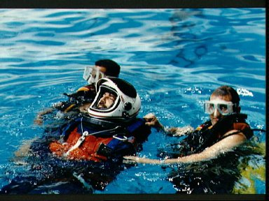 STS-46 Payload Specialist Malerba in JSC's WETF pool during egress training