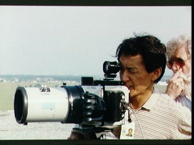 STS-47 Payload Specialist Mohri during LINHOF camera training on JSC rooftop
