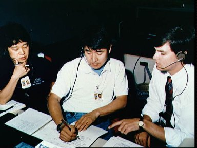 STS-47 backup payload specialists at MSFC Spacelab Mission Operations Center