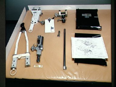 EVA tools are documented during the STS-57 bench review at Boeing's FEPF