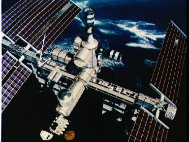 Space Station Freedom option A with two Soyuz ACRV capsules docked at ports