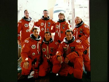 STS-58 crew at KSC for countdown demonstration