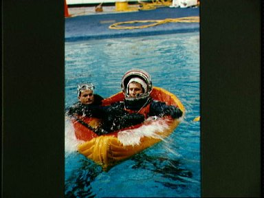 Astronaut Jay Buckey participates in emergency bailout training in the WETF