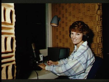 Astronaut Eileen Collins during phone interview with news media