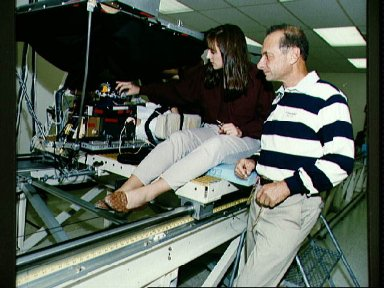STS-58 crewmembers participate in baseline data collection