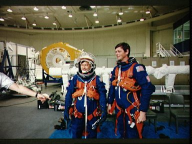 STS-65 Mission Specialist Chiao and backup payload specialist Favier at WETF