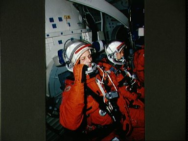 STS-65 payload specialists Favier and Mukai on CCT middeck during training