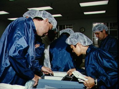STS-65 crewmembers participate in bench review at Boeing Building