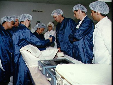STS-65 crewmembers and backup participate in bench review at Boeing Building