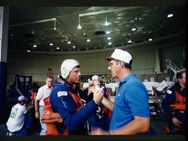 Astronaut Stephen Oswald during emergency bailout training