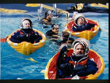 STS-67 payload specialists during bailout training in WETF