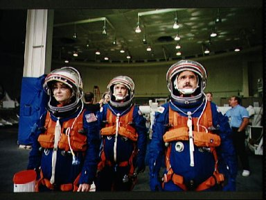 STS-67 crewmembers during emergency bailout training