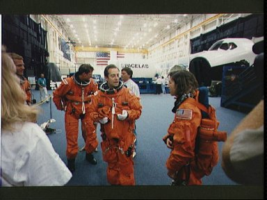 Astronaut Jean-Francois Clervoy chats with STS-66 crewmates