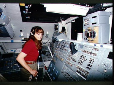 Astronaut Tamara Jernigan in the CCT during a training session