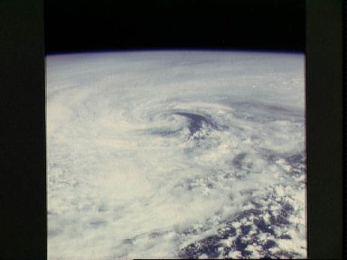 Earth Limb and Hurricane Clouds over Open Ocean, Location Unknown