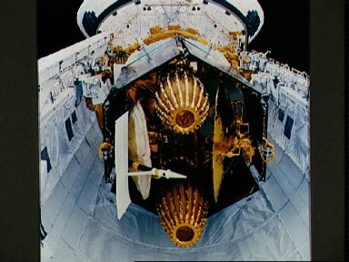 STS-29 tracking and data relay satellite (TDRS) in OV-103's payload bay (PLB)