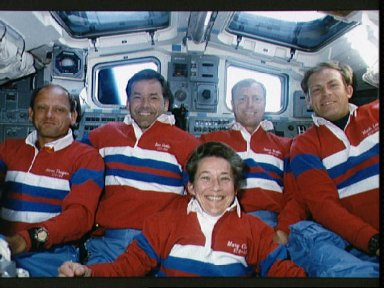 STS-30 crewmembers pose for onboard portrait on OV-104's aft flight deck