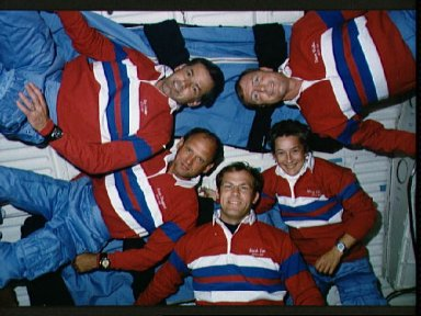 STS-30 crewmembers pose for onboard portrait on OV-104's middeck