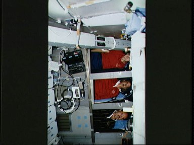 STS-35 crewmembers in sleep station compartments on OV-102's middeck