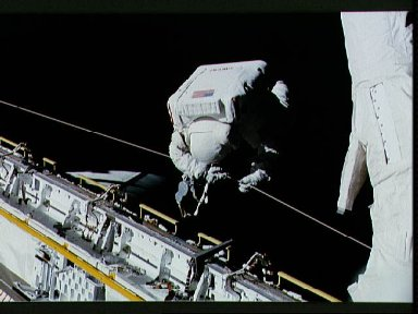 STS-37 Mission Specialist (MS) Ross during EVA in OV-104's payload bay