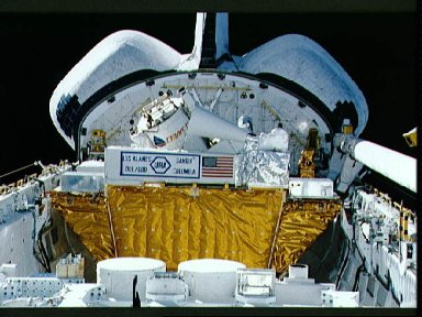 STS-39 AFP-675 and STP-1 MPESS in OV-103's payload bay (PLB)