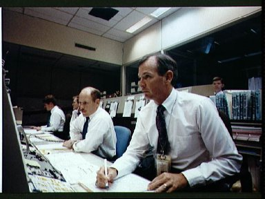 STS-39 Discovery, OV-103, launch is monitored in JSC's Mission Control Center