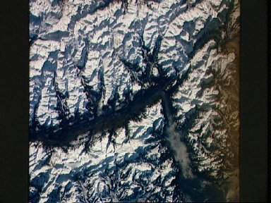 STS-42 Earth observation of the Rhone River / Lake Geneva in Switzerland