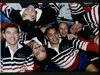 STS-44 crew poses for their onboard (in-space) portrait on OV-104's middeck