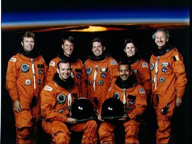 Official portrait of the STS-45 Atlantis, OV-104, crewmembers