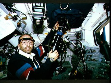 STS-46 Payload Specialist Malerba TOP experiment on OV-104's aft flight deck