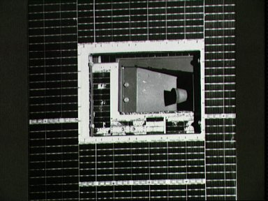 STS-49 closeup of INTELSAT thruster taken by crew aboard OV-105 with ESC
