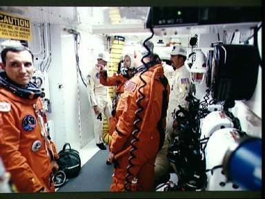 STS-51 crew seen in White room prior to launch of Discovery