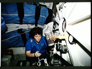 Crewmember in the middeck with Commercial Generic Bioprocessing experiment.