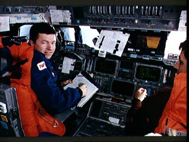 STS-56 Commander Cameron and Pilot Oswald on OV-103's forward flight deck
