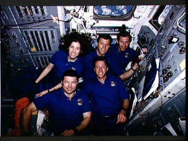 STS-56 crew poses for onboard (inflight) portrait on OV-103's aft flight deck