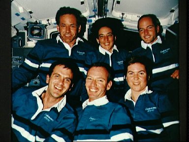 STS-57 traditional onboard crew portrait on flight deck of Endeavour, OV-105