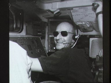 Electronic Still Camera image of Astronaut Claude Nicollier working with RMS
