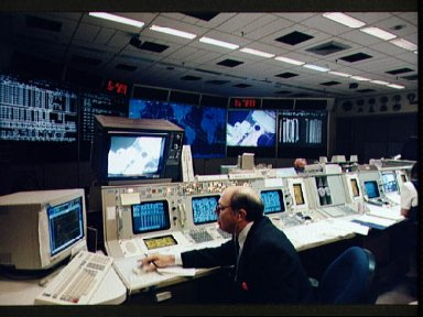 Mission control activity during STS-61 EVA-1
