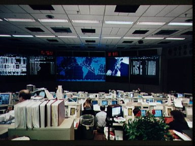 Mission control activity during STS-61 EVA