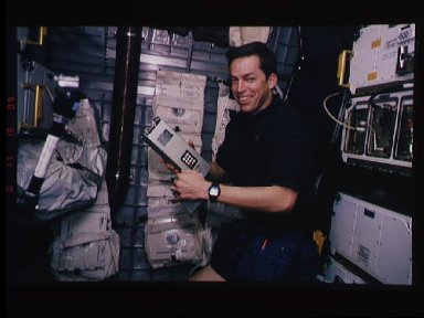 Astronaut James Wetherbee with RME in Spacehab-3