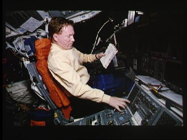 Astronaut Richards initiates thruster firing during SPIFEX operations